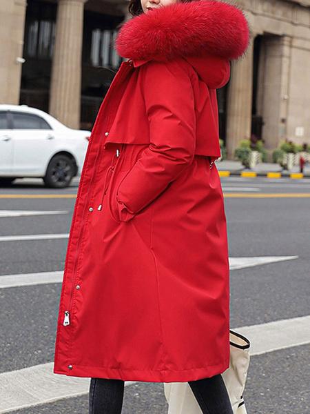 Milanoo Puffer abrigos rosa de gran tamaño longitud de la rodilla de la mujer con capucha de la cremallera de manga larga casual espesa la capa de abr