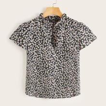 Camisa de cuello V con estampado floral de margarita