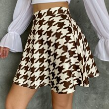 Falda de pata de gallo con cremallera lateral