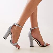 Sandalen mit Glitzer Dekor und klobiger Sohle