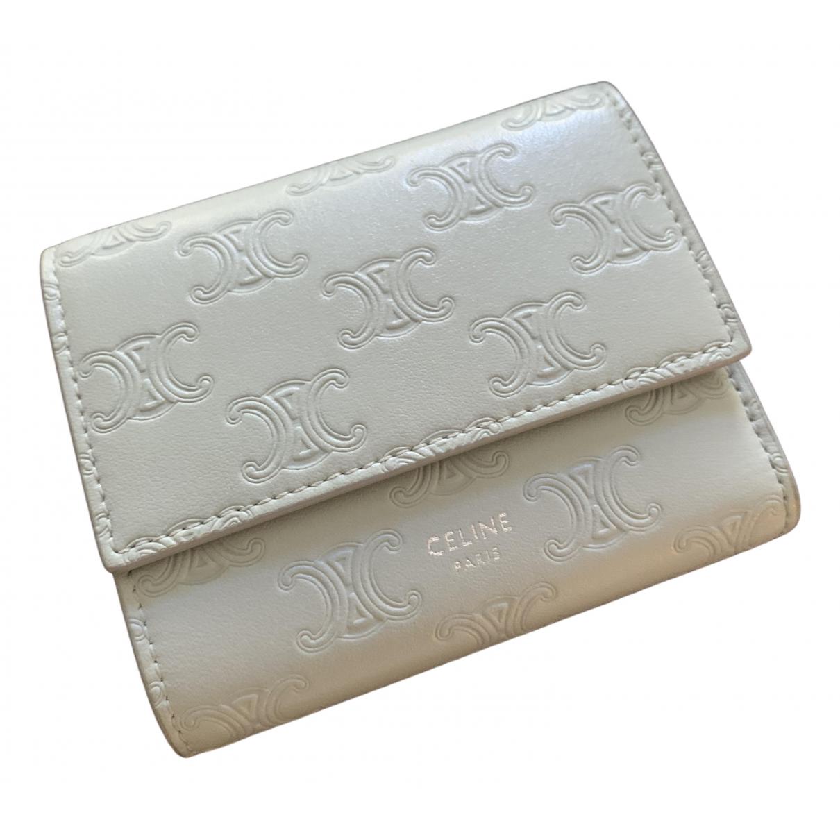 Celine - Portefeuille   pour femme en cuir - gris