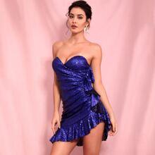 Ruffle Trim Wrap Sequin Tube Dress
