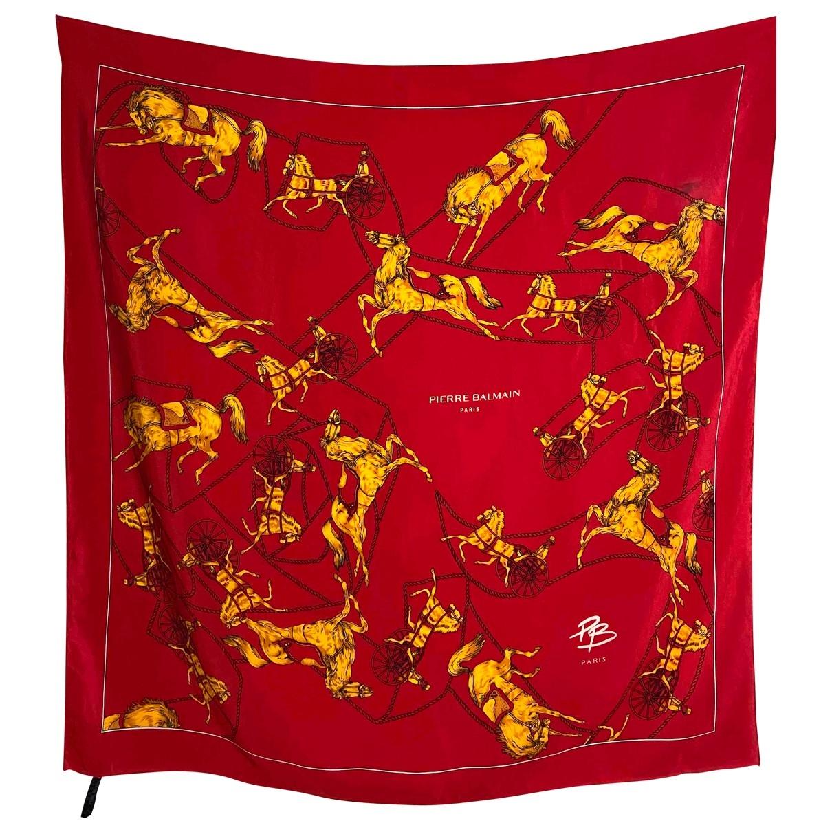 Balmain - Carre   pour femme en soie - rouge