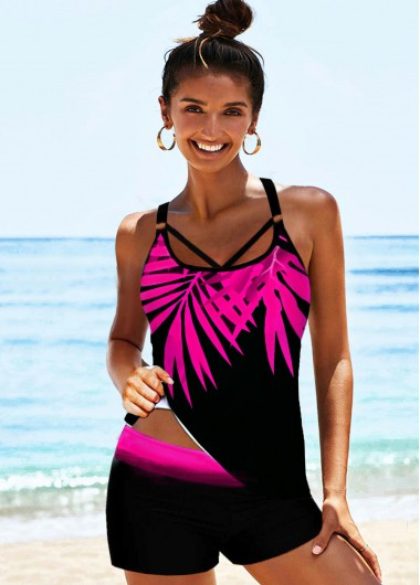 Palm Leaf Print Strappy Back Rose Red Tankini Set - S