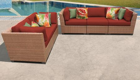 Laguna Collection LAGUNA-05a-TERRACOTTA 5-Piece Patio Set with 4 Corner Chairs and 1 Armless Chair - Wheat and Terracotta