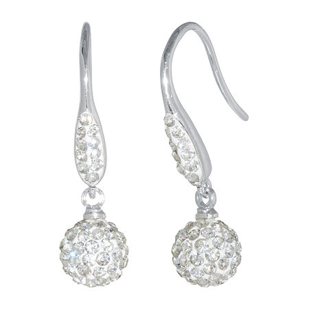 Sparkle Allure Crystal Pure Silver Over Brass Drop Earrings, One Size , No Color Family