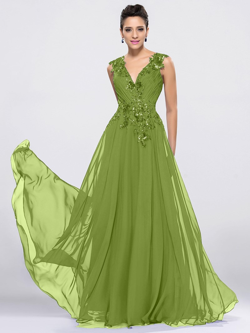 Ericdress Straps Sequins Appliques Prom Dress