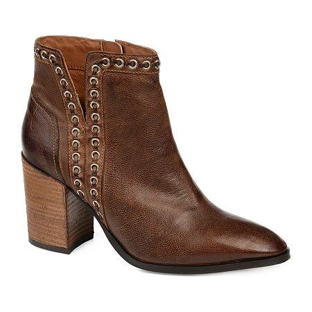 Journee Signature Womens Jorri Booties Stacked Heel, 7 Medium, Brown