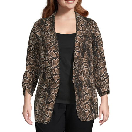 Worthington Womens Soft Unlined Jacket - Plus, 0x , Brown