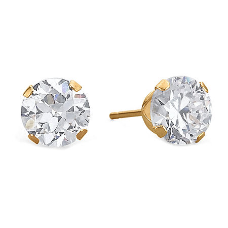 Cubic Zirconia Stud Earrings, 10K Gold Round, One Size , No Color Family
