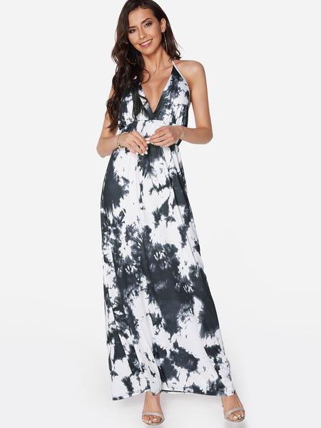 Yoins Black Random Floral Print Backless Design Halter V-neck Sleeveless Maxi Dress