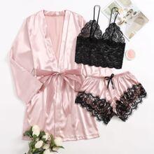 3pack Contrast Lace Satin Lingerie Set & Belted Robe