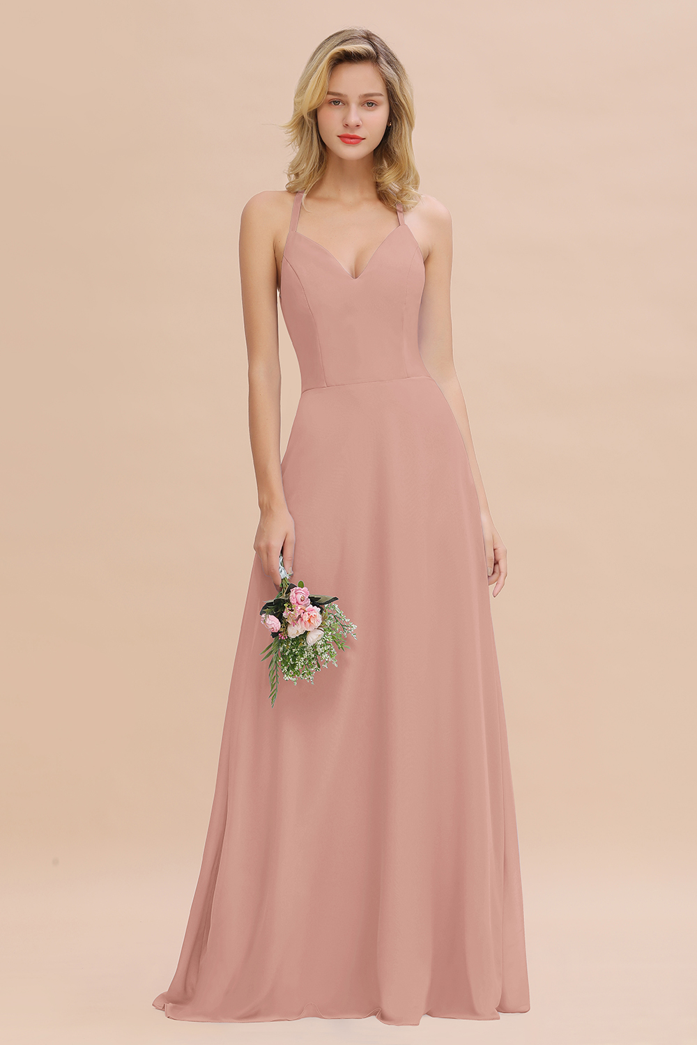 BMbridal Modest Halter V-Neck Sleeveless Long Bridesmaid Dresses Online
