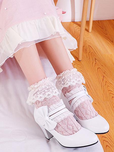 Milanoo Sweet Lolita Footwear Bows PU Leather Prism Heel Lolita Pumps