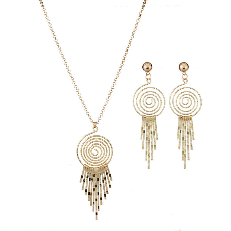 Statement Womens Bridal Wedding Jewelry Set Spiral Tassel Pendant Long Necklaces Drop Earrings
