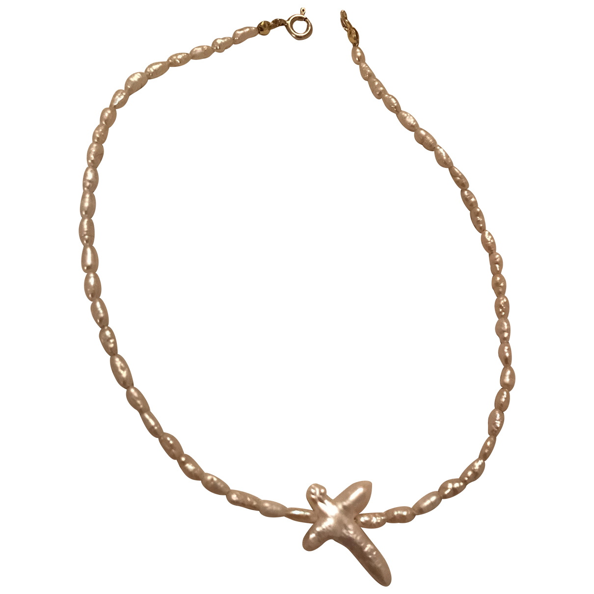 Non Signe / Unsigned Croix Kette in  Weiss Perlen