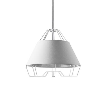 ROC-1512-691 1 Light White Pendant With White On Silver Hardback