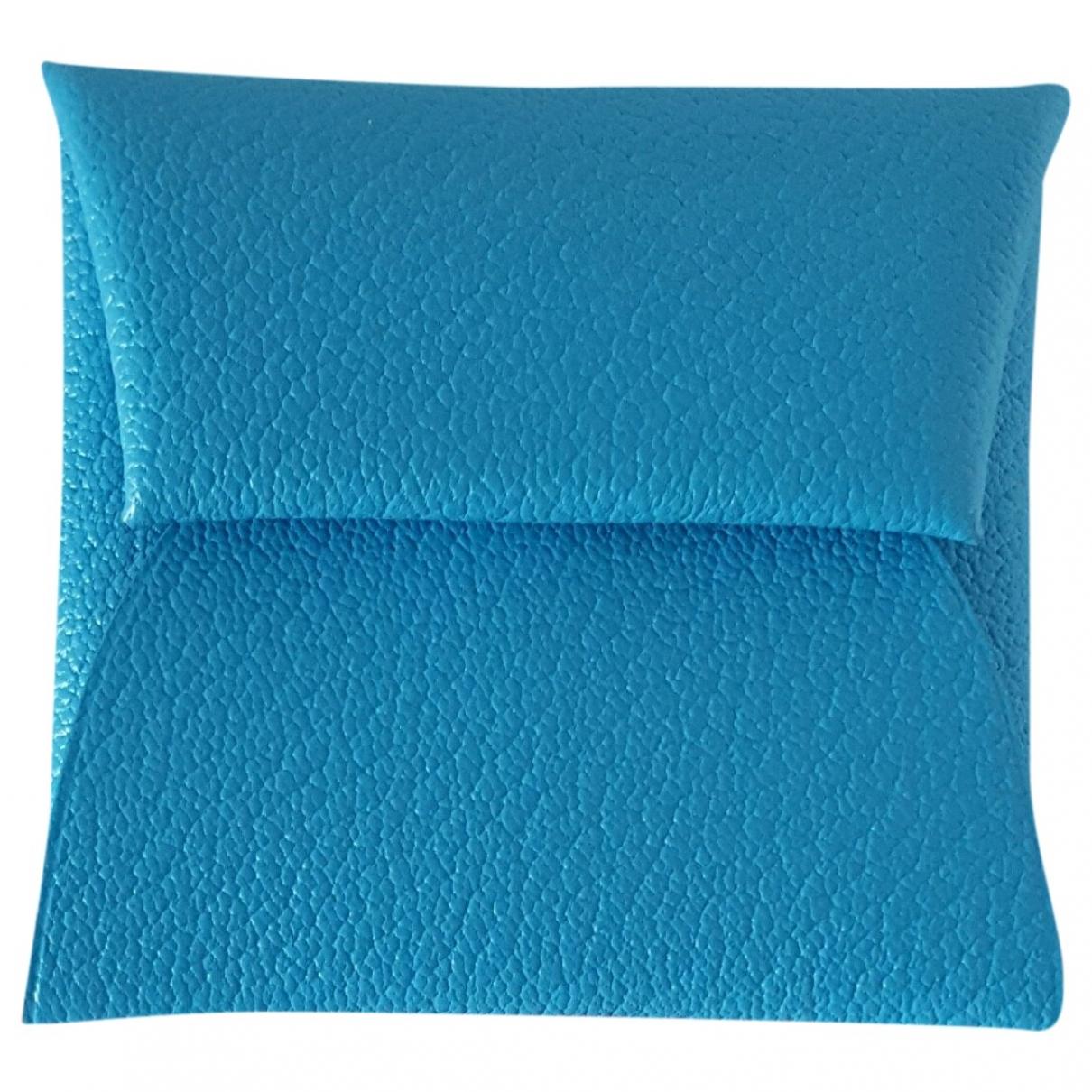 Hermes - Petite maroquinerie Bastia pour femme en cuir - turquoise