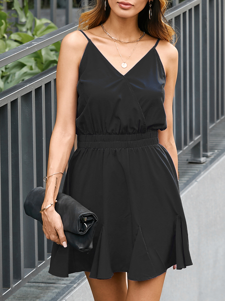 YOINS Backless Spaghetti Strap V-neck Sleeveless Dress