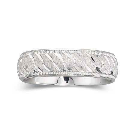 Personalized Mens 6mm Comfort Fit Sterling Silver Wedding Band, 9 1/2 , No Color Family