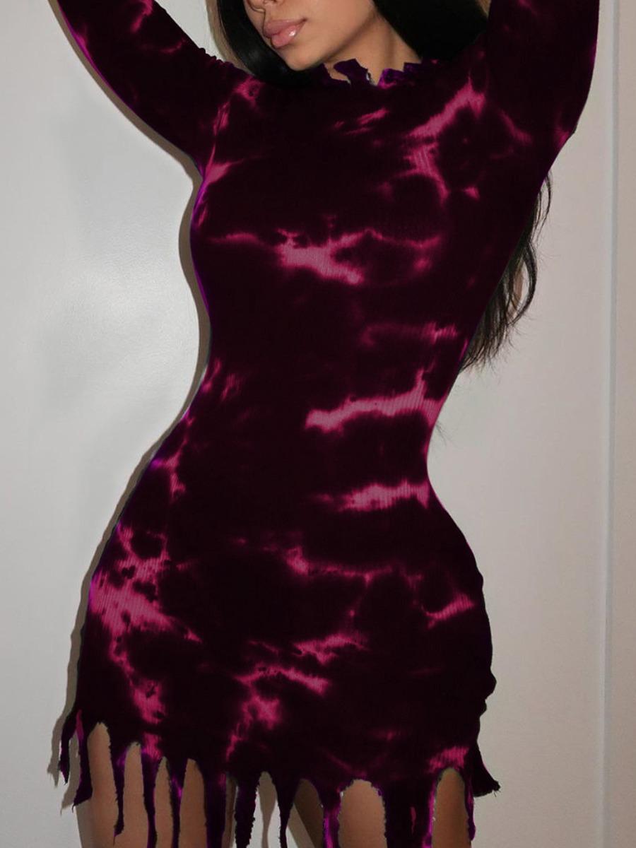LW lovely Casual O Neck Tie-dye Tassel Design Purple Mini Dress