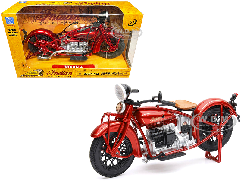 1930 Indian 4 Red 1/12 Diecast Motorcycle Model by New Ray