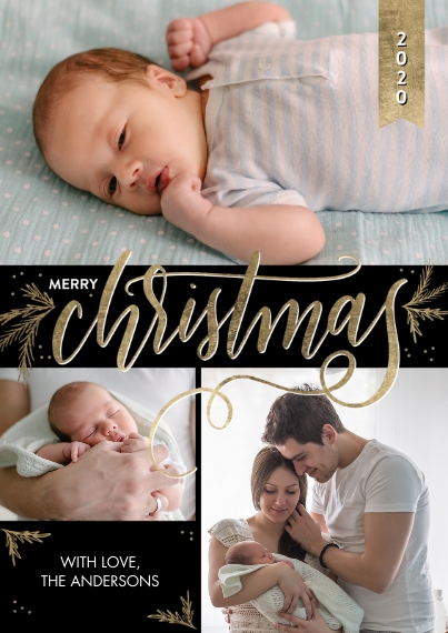 Christmas Photo Cards 5x7 Cards, Premium Cardstock 120lb, Card & Stationery -2020 Christmas Gold Script Greeting by Tumbalina