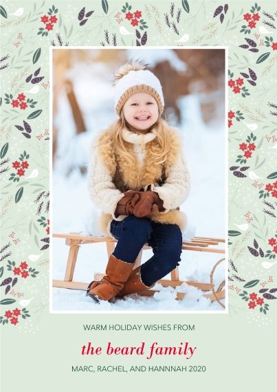 Christmas Photo Cards Mail-for-Me Premium 5x7 Flat Card, Card & Stationery -Botanical Border
