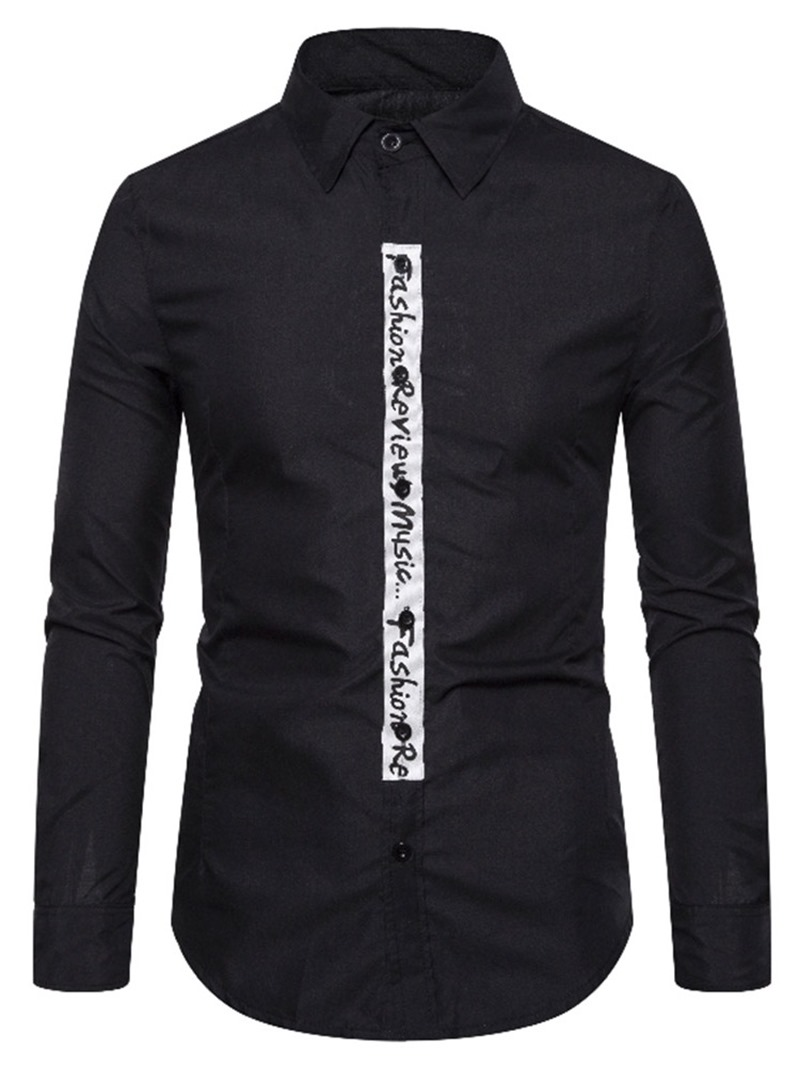 Ericdress Button Casual Letter Slim Single-Breasted Mens Shirt