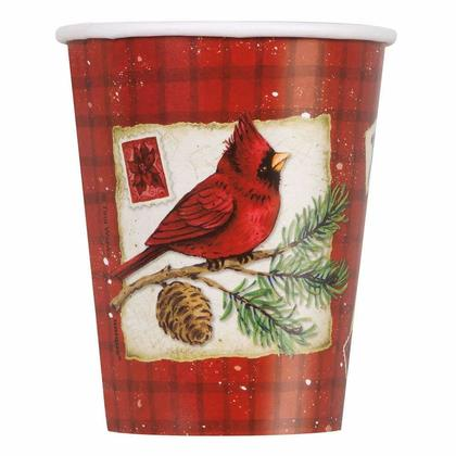 9oz Cardinal Christmas Party Paper Cups, 8Pcs/Pack