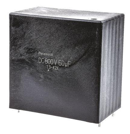 Panasonic 60μF Polypropylene Capacitor PP 800V dc ±10% Tolerance Through Hole EZPE Series