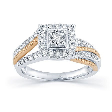 3/4 CT. T.W. Diamond 14K Two-Tone Gold Engagement Ring, 7 , No Color Family