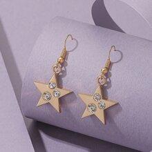 Rhinestone Decor Star Drop Earrings