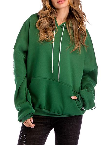 Milanoo Sudadera con capucha para mujer Sudadera con capucha verde de manga larga con cordon y bolsillos