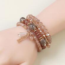 4 Stuecke Armband mit Kette und Quasten Dekor