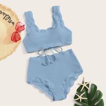 Set de bikini con textura de cintura alta ribete en abanico