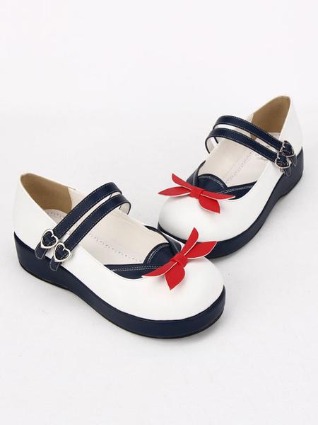 Milanoo Sailor Lolita Shoes Square Toe Two Tone White Lolita Shoes