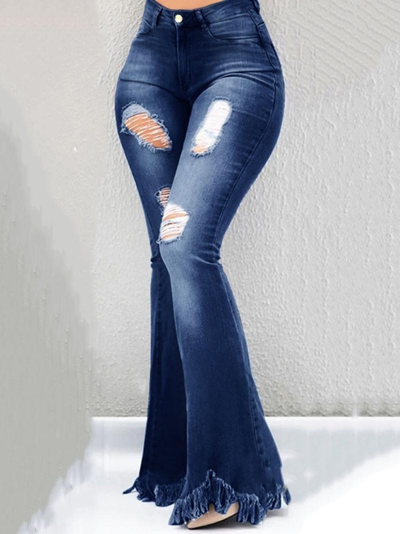 Ericdress Hole Pocket Bellbottoms Zipper Slim Jeans