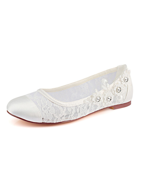 Milanoo White Wedding Shoes Lace Round Toe Rhinestones Flat Mother Of The Bride Shoes