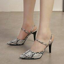 Point Toe Snakeskin Stiletto Heels