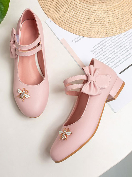 Milanoo Sweet Lolita Footwear Pink Bows Bee PU Leather Puppy Heel Lolita Shoes
