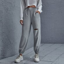 Cut Out Front Solid Sweatpants