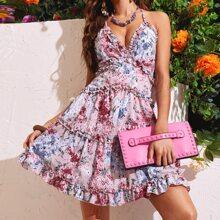 Rueckenfreies Cami Kleid mit Blumen Muster, Kreuzgurt und Raffungsaum
