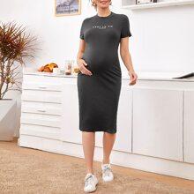 Maternity Slogan Graphic Rib-knit Dress