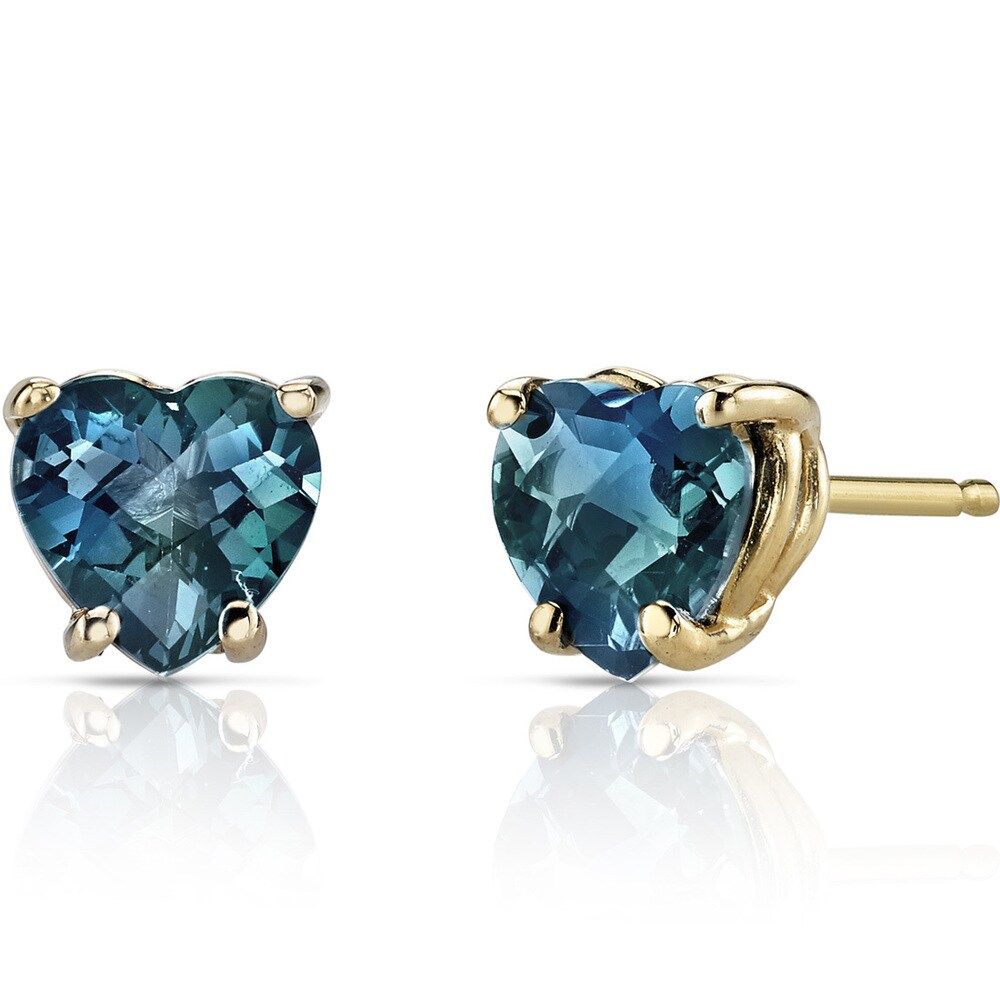 Oravo 14k Yellow Gold 2ct TGW London Blue Topaz Heart Shape Stud Earrings (Yellow - Blue - Topaz - Blue)