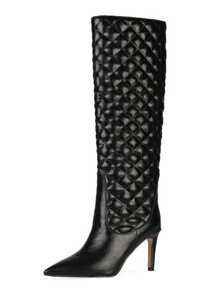 Milanoo Rodilla Botas Negro PU punta estrecha del tacon de aguja botas de mujer Longitud de la rodilla