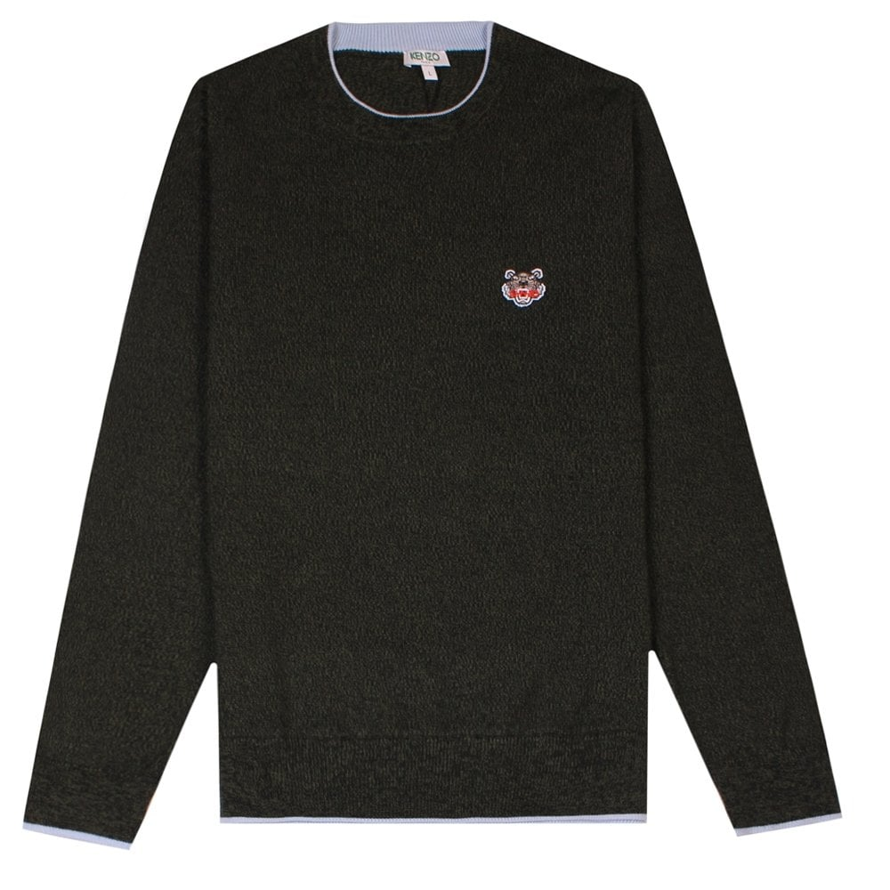 Kenzo Small Tiger Logo Knitted Jumper Colour: GREEN, Size: EXTRA LARGE
