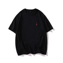 T-Shirt mit Grafik Muster und sehr tief angesetzter Schulterpartie