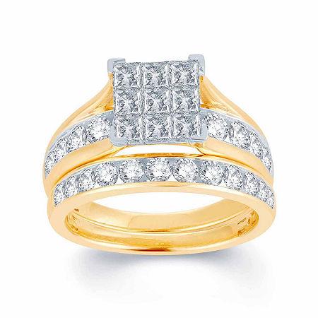 Womens 1 CT. T.W. Genuine White 10K Gold Bridal Set, 6 1/2 , No Color Family
