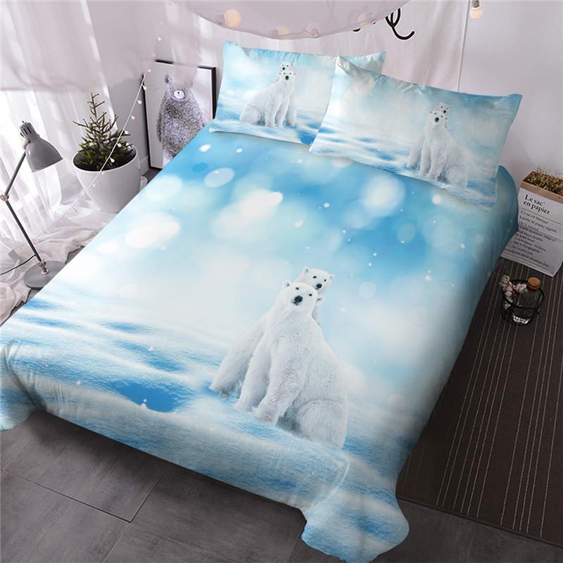 Polar Bear Comforter Set Three-Piece Set Reactive Printing Polyester Bedding Sets
